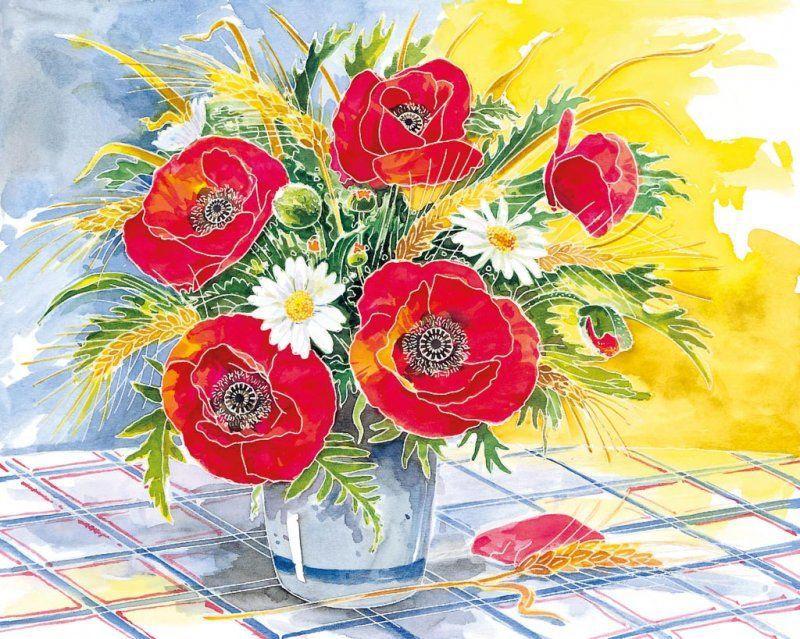 Раскраска по номерам Цветы (3 в 1) макси 30х24 ...