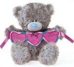 Мишка Тедди держит гирлянду сердечек I love you this much. 30см